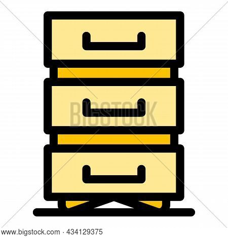 Data File Drawer Icon. Outline Data File Drawer Vector Icon Color Flat Isolated