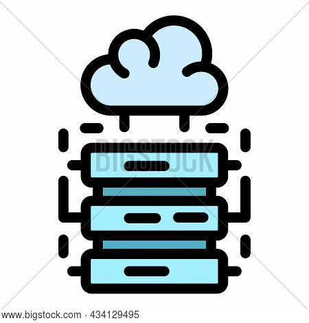 Server Data Cloud Icon. Outline Server Data Cloud Vector Icon Color Flat Isolated