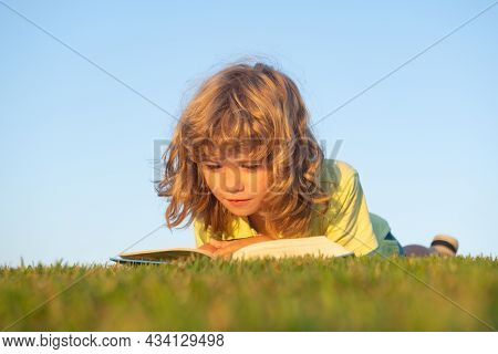 Kid Read Book In Park. Child Boy Reading Book Laying On Grass On Grass And Sky Background With Copy