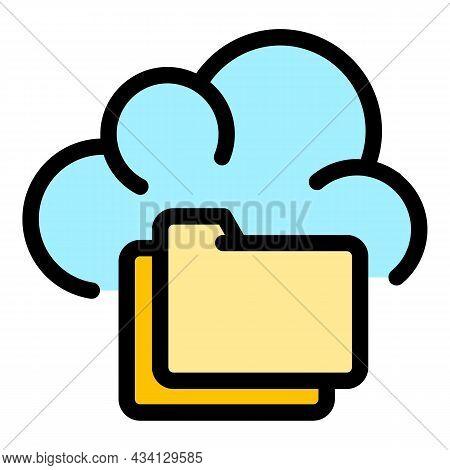 Folder Server Data Icon. Outline Folder Server Data Vector Icon Color Flat Isolated