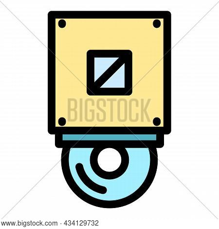 Cd Rom Icon. Outline Cd Rom Vector Icon Color Flat Isolated