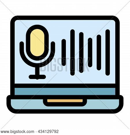 Laptop Audio Record Icon. Outline Laptop Audio Record Vector Icon Color Flat Isolated