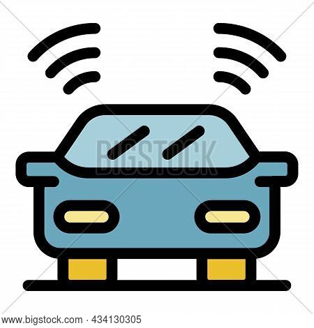 Car Driving Assistant Icon. Outline Car Driving Assistant Vector Icon Color Flat Isolated