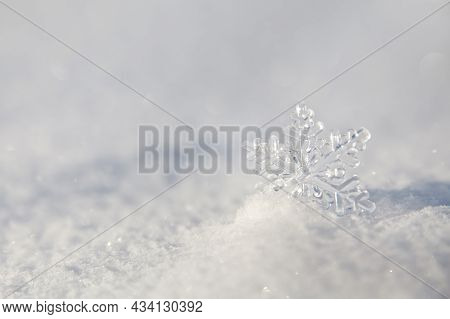 Natural Winter Background, Smooth Surface Of Clean Fresh Snow. Snowy Ground. Winter Background With
