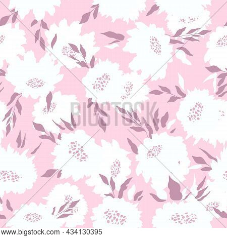 Floral Seamless With Hand Drawn Color Roses. Cute Summer Background With Flowers And Leaves. Modern