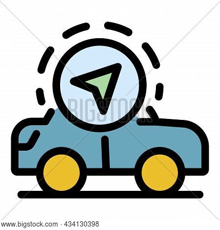 Gps Taxi Control Icon. Outline Gps Taxi Control Vector Icon Color Flat Isolated