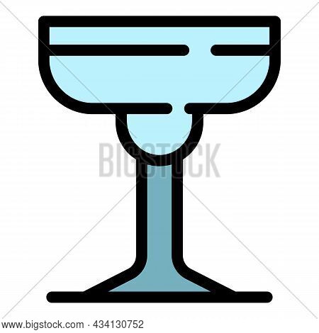 Champagne Saucer Icon. Outline Champagne Saucer Vector Icon Color Flat Isolated