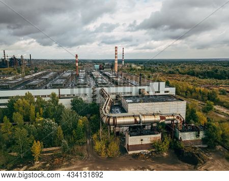 Industrial Area Of The Metallurgical Plant, Drone Aerial View