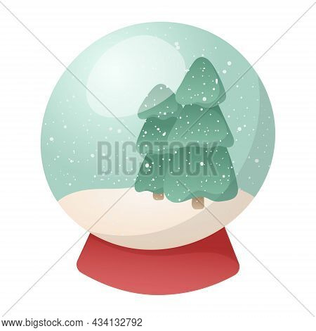 Vector Cartoon Illustration Of A Traditional Christmas Toy Or Souvenir, Glass Ball With Snow And Chr