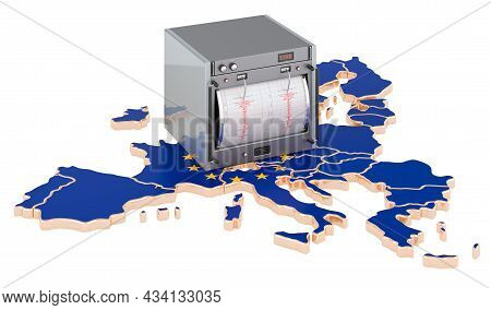 Earthquake In The European Union, Concept. Seismograph On The The Eu Map. 3d Rendering Isolated On W