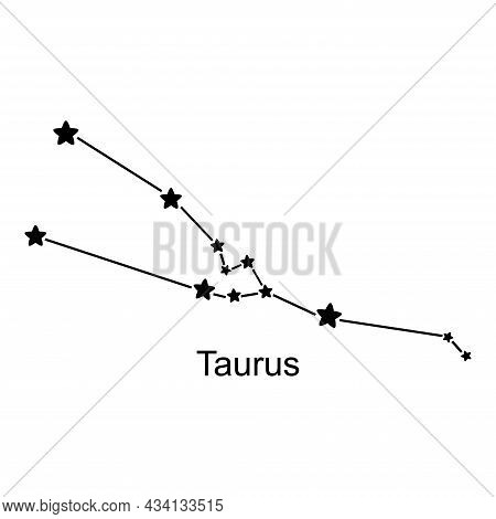 Constellation Of Zodiac Sign On White Background, Vector Illustration