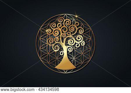 Tree Of Life And Flower Of Life, Gold Spiritual Mandala, Sacred Geometry. Bright Golden Symbol Of Ha