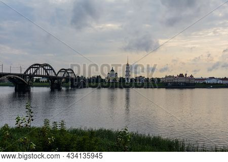 Rybinsk Bridge, Across The Volga River. Spaso-preobrazhensky Cathedral, Rybinsk, Yaroslavl Region