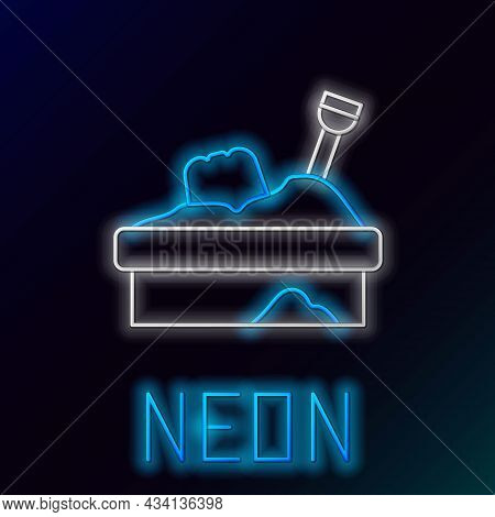 Glowing Neon Line Sandbox With Sand Icon Isolated On Black Background. Colorful Outline Concept. Vec