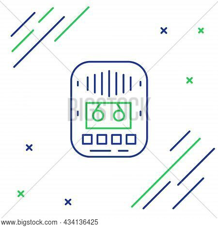 Line Cassette Tape Player Icon Isolated On White Background. Vintage Audio Tape Recorder. Colorful O