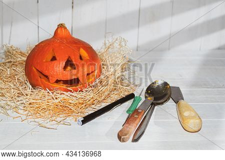 The Process Of Making A Lantern From Fresh Pumpkin For Halloween. Happy Halloween! Preparing For The