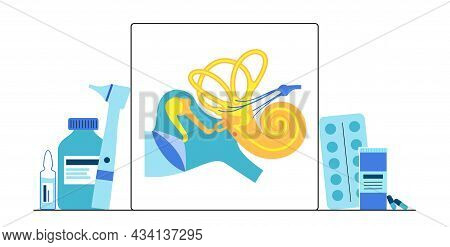 Inner And Middle Ear Diagram. Ent Medical Center. Otoscopy Procedure. Otolaryngology Clinic. Doctor