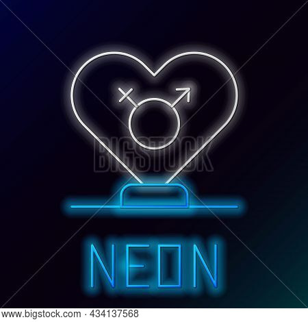 Glowing Neon Line Gender Icon Isolated On Black Background. Symbols Of Men And Women. Sex Symbol. Co