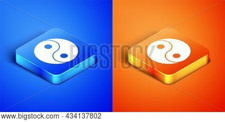 Isometric Yin Yang Symbol Of Harmony And Balance Icon Isolated On Blue And Orange Background. Square
