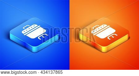 Isometric Cooking Pot Icon Isolated On Blue And Orange Background. Boil Or Stew Food Symbol. Square