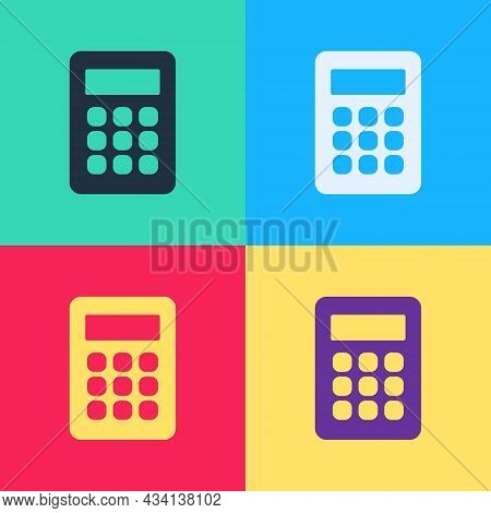 Pop Art Calculator Icon Isolated On Color Background. Accounting Symbol. Business Calculations Mathe