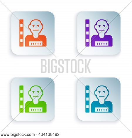 Color Suspect Criminal Icon Isolated On White Background. The Criminal In Prison, Suspected Near The