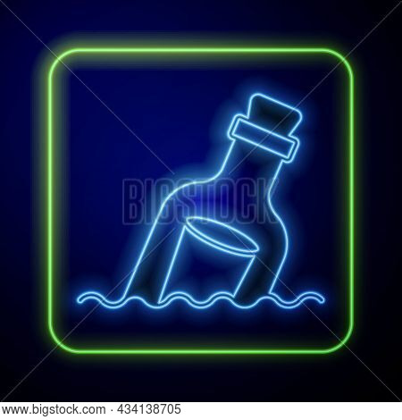 Glowing Neon Glass Bottle With A Message In Water Icon Isolated On Blue Background. Letter In The Bo