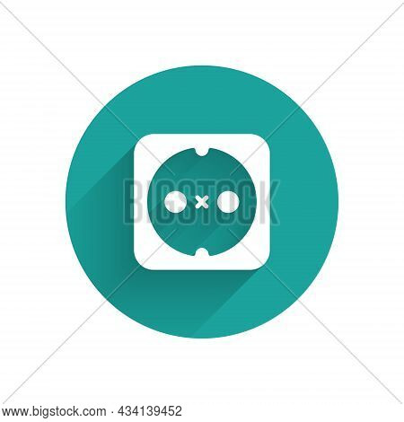 White Electrical Outlet Icon Isolated With Long Shadow Background. Power Socket. Rosette Symbol. Gre