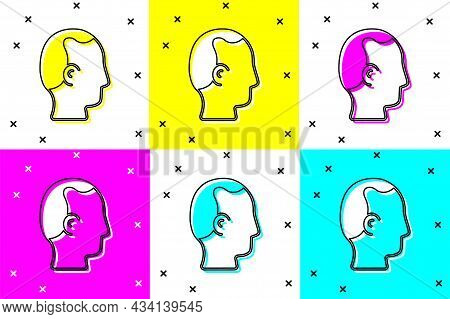 Set Baldness Icon Isolated On Color Background. Alopecia. Vector