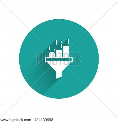 White Sales Funnel With Chart For Marketing And Startup Business Icon Isolated With Long Shadow Back