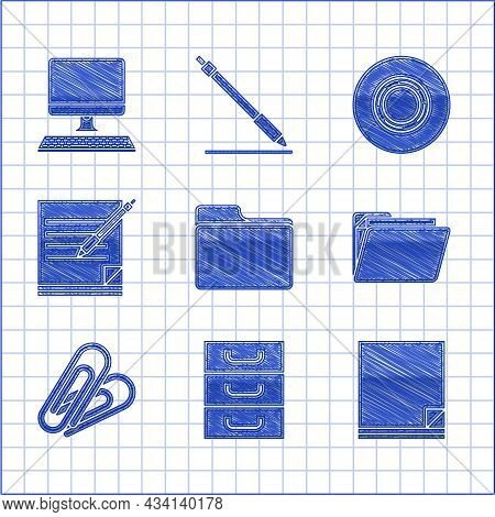 Set Document Folder, Drawer With Documents, File, Paper Clip, Blank Notebook And Pen, Scotch And Com