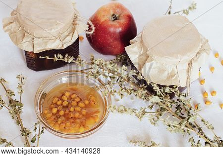 Sea Buckthorn And Apple Marmalade - Jam In A Glass Jar. Homemade Confiture Is Any Fruit Jam, Marmala