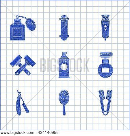 Set Shaving Gel Foam, Hand Mirror, Curling Iron For Hair, Cream Lotion Cosmetic Tube, Straight Razor