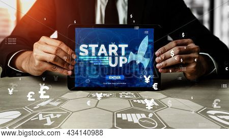 Start Up Business Of Creative People Conceptual - Modern Graphic Interface Showing Symbol Of Entrepr