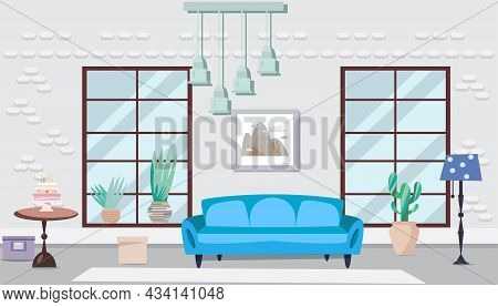 Cozy Interior With  Flowers. Living Room With Furniture. Home Modern Apartment Design . Cactus, Pain