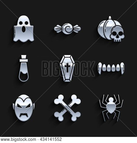 Set Coffin With Christian Cross, Crossed Bones, Spider, Vampire Teeth, Bottle Potion, Pumpkin And Sk