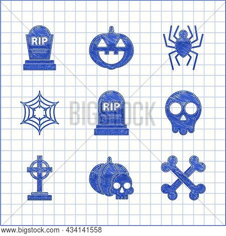 Set Tombstone With Rip, Pumpkin And Skull, Crossed Bones, Skull, Cross, Spider Web, And Icon. Vector