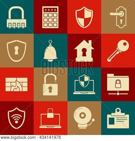 Set Identification Badge, Ftp Folder And Lock, Key, Shield, Ringing Bell, With Keyhole, Safe Combina