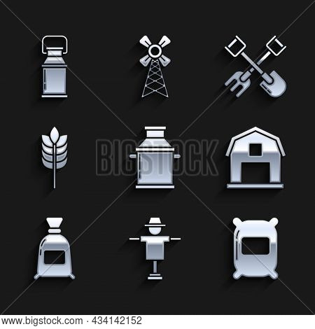 Set Can Container For Milk, Scarecrow, Bag Of Flour, Farm House Concept, Cereals With Rice, Wheat, C