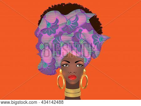 Afro hairstyle beautiful portrait African woman in wax print fabric turban, gold jewelry, diversity concept. Black Queen, ethnic head tie for afro kinky curly hair. Vector isolated on orange color background