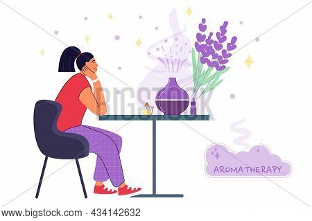 Decorative Ultrasonic Home Diffuser And Lavender Flowers For Meditation And Freshness At Home Aromat