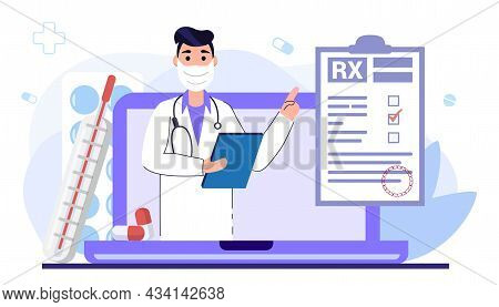 Online Doctor Medical Service Concept With In Laptop Vector Illustration Health Care Services And On