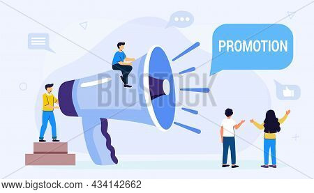Professional Speaker With Megaphone Tiny People Creative Trainees Or Company Members Listening To Th