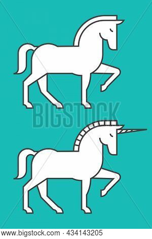 Horse And Unicorn Vector Illustrations. Set Of Two Simplified Drawings Of Horse And Unicorn One Rais