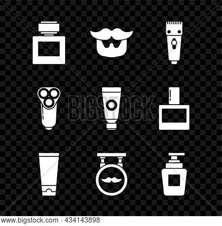 Set Aftershave, Mustache And Beard, Electrical Hair Clipper Or Shaver, Cream Lotion Cosmetic Tube, B