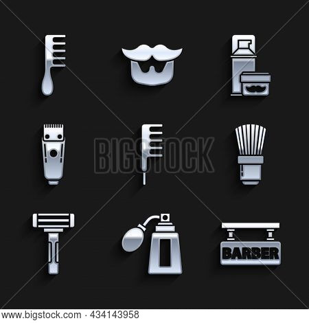 Set Hairbrush, Aftershave Bottle With Atomizer, Barbershop, Shaving, Razor, Electrical Hair Clipper