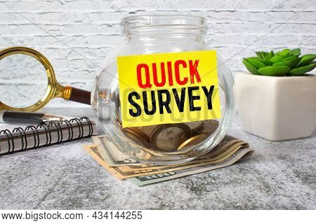 Quick Survey Inscription On Notebook. Concept Meaning Conduct Fast Check On Condition Value Situatio