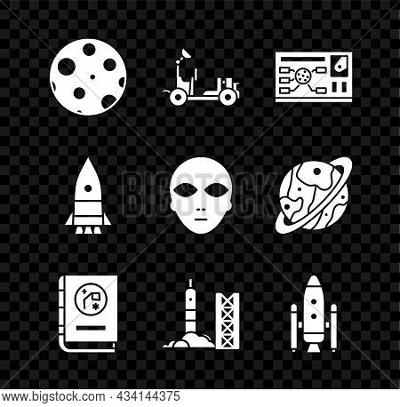 Set Moon, Mars Rover, Futuristic Hud Interface, Book By Astronomy, Rocket Launch From The Spaceport,