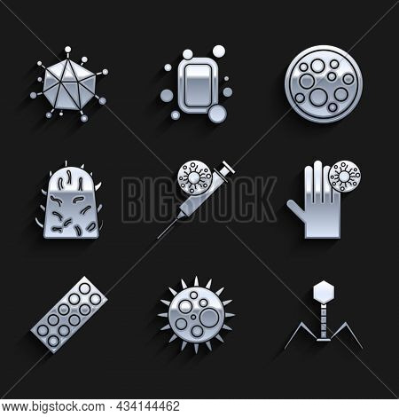 Set Syringe And Virus, Virus, Bacteria Bacteriophage, Hand With, Pills Blister Pack, Rabies, And Ico
