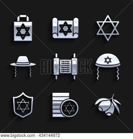 Set Torah Scroll, Jewish Coin, Olives Branch, Kippah, Shield With Star Of David, Orthodox Jewish Hat